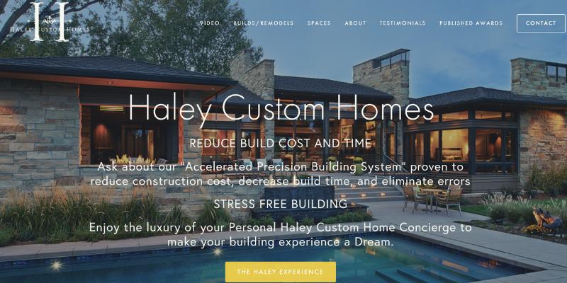 Haley custom homes homepage.