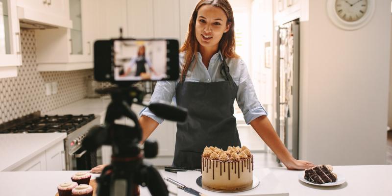 Baker recording a recipe for her social media channels.
