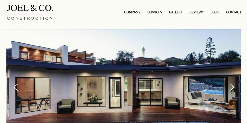 Joel & Co. Construction homepage.