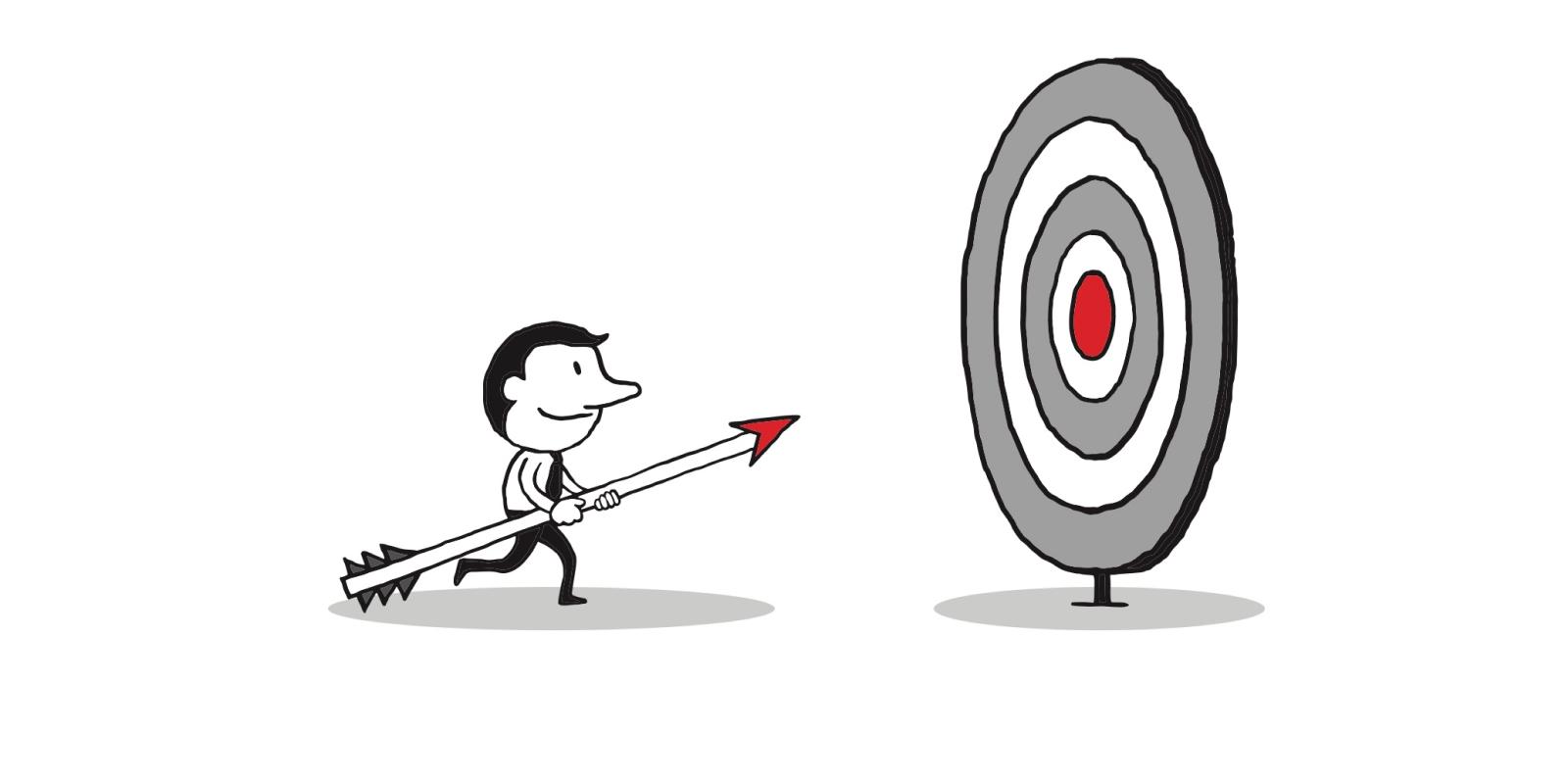 cartoon businessman running with an arrow towards a target
