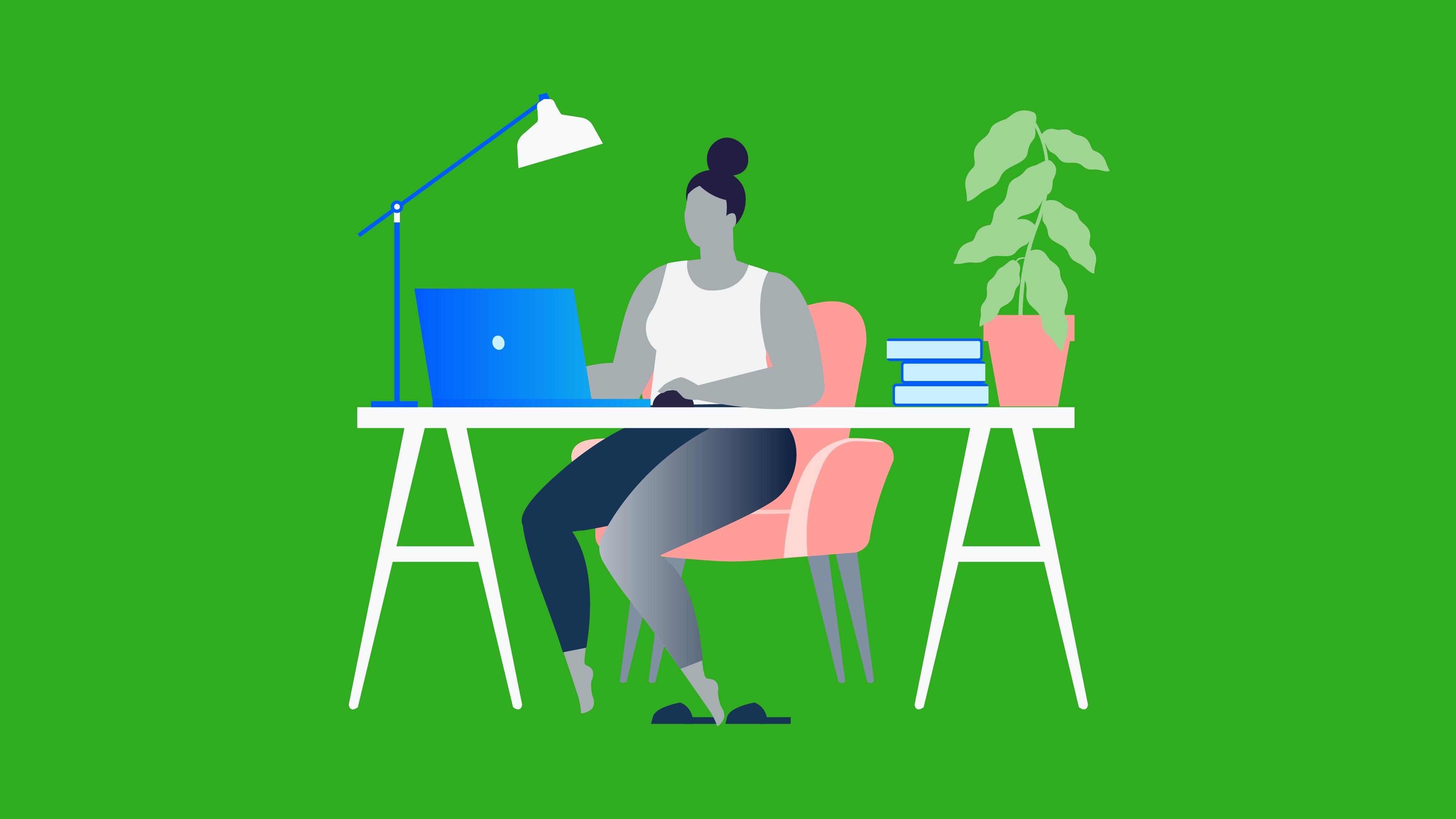 Illustration of freelancer working at her desk.