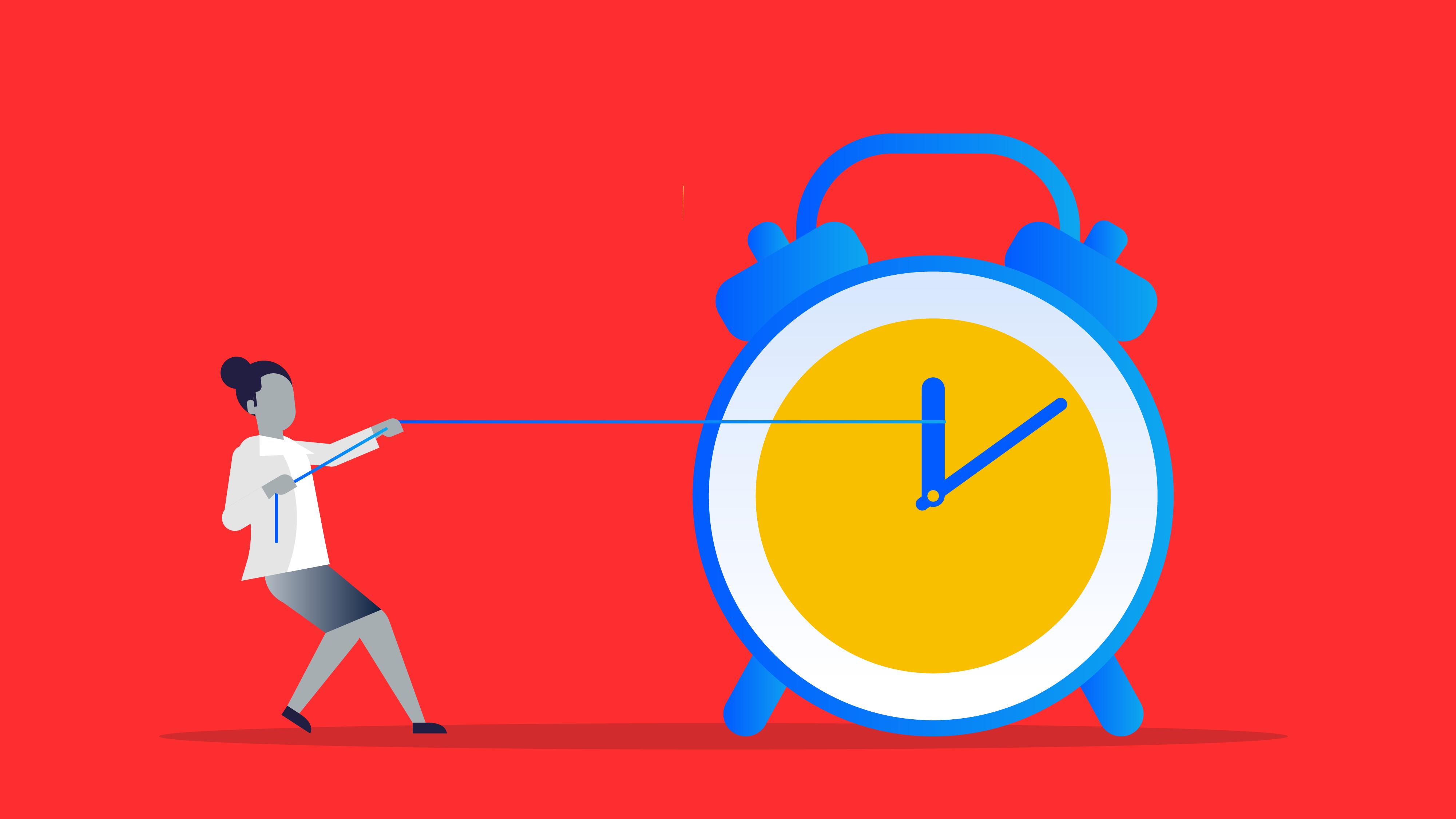 Illustration of business owner pulling back a clock's hands.