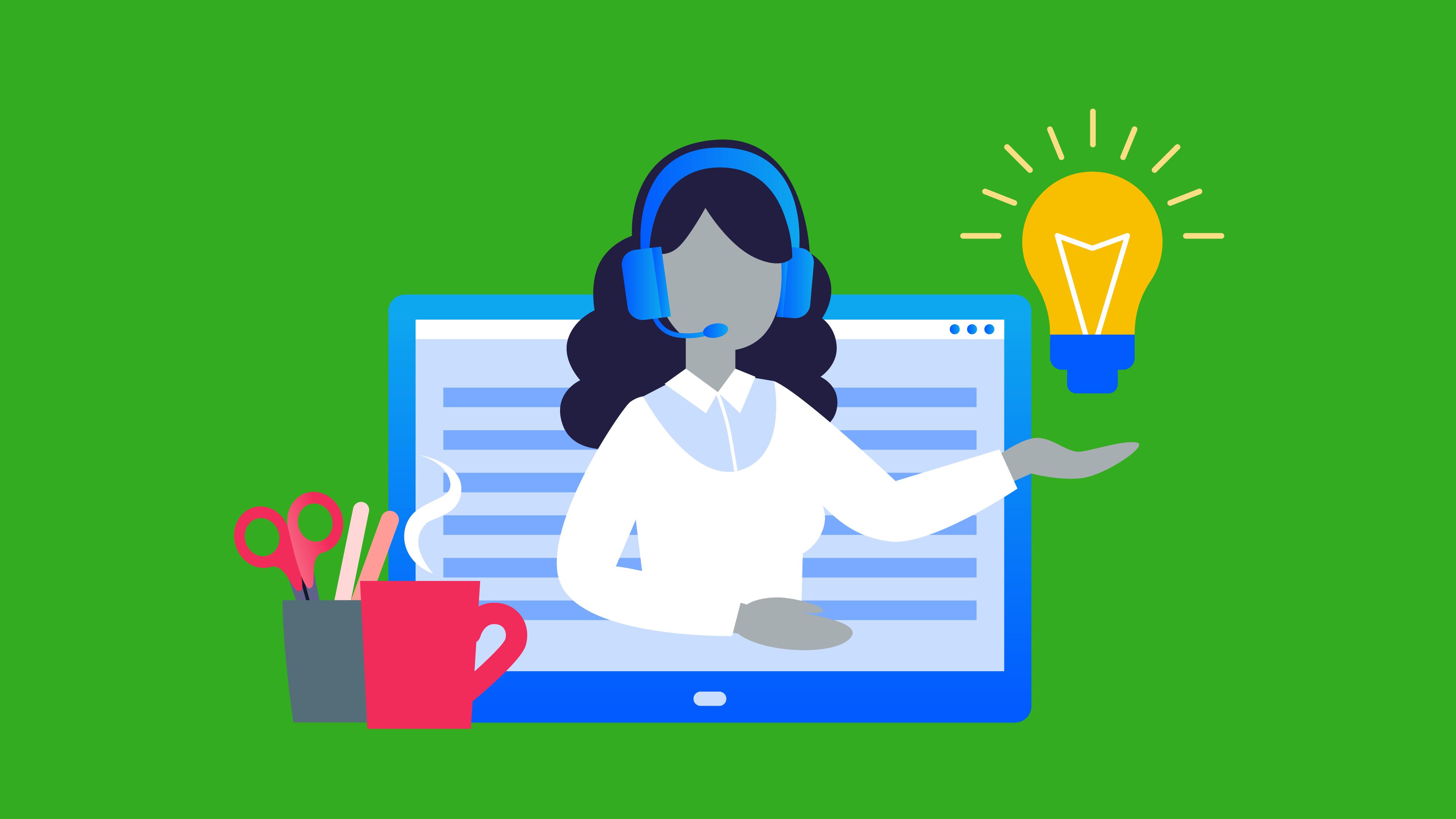 Illustration of a virtual customer representative on a computer screen.