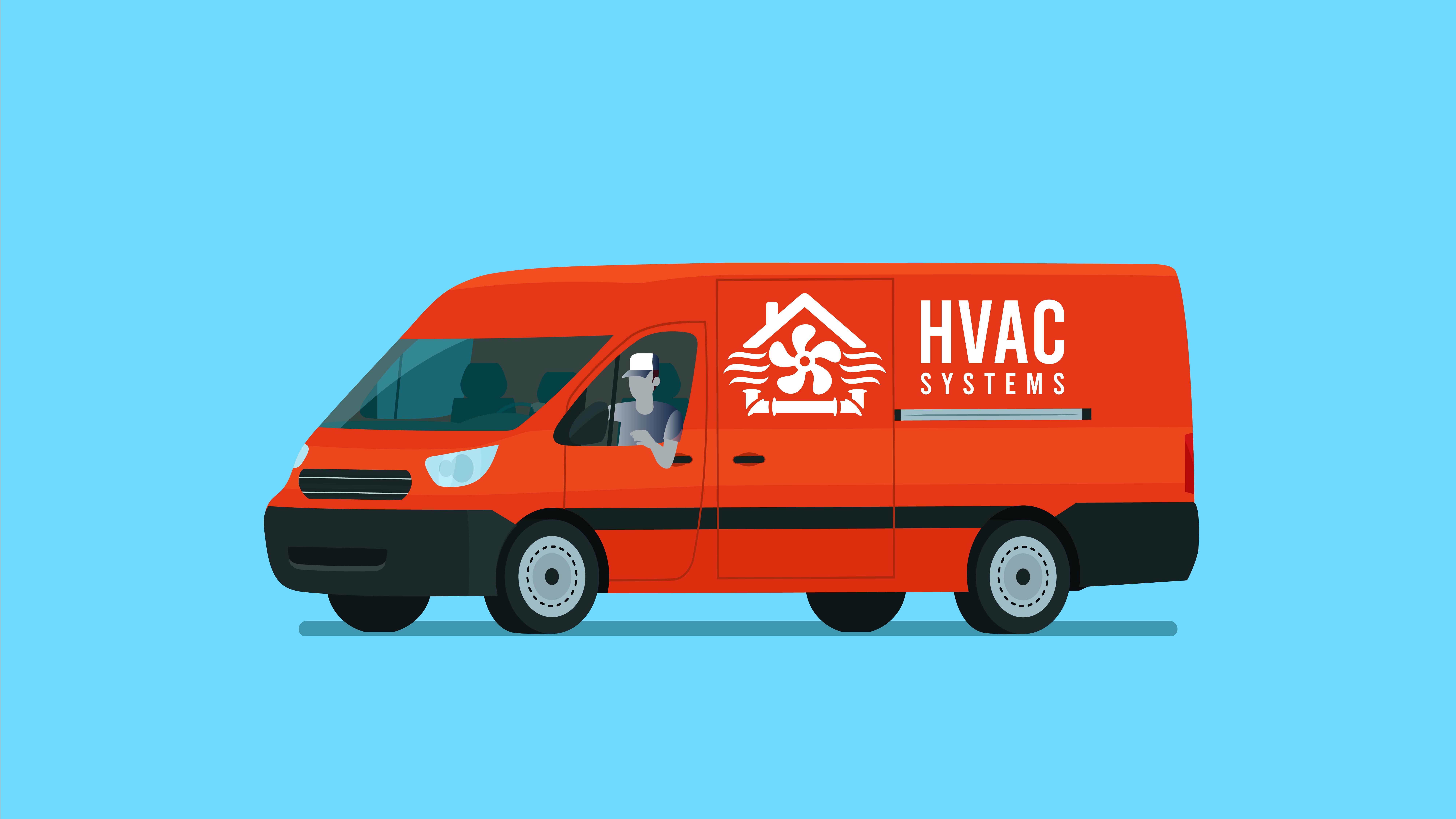 Illustration of an HVAC van.