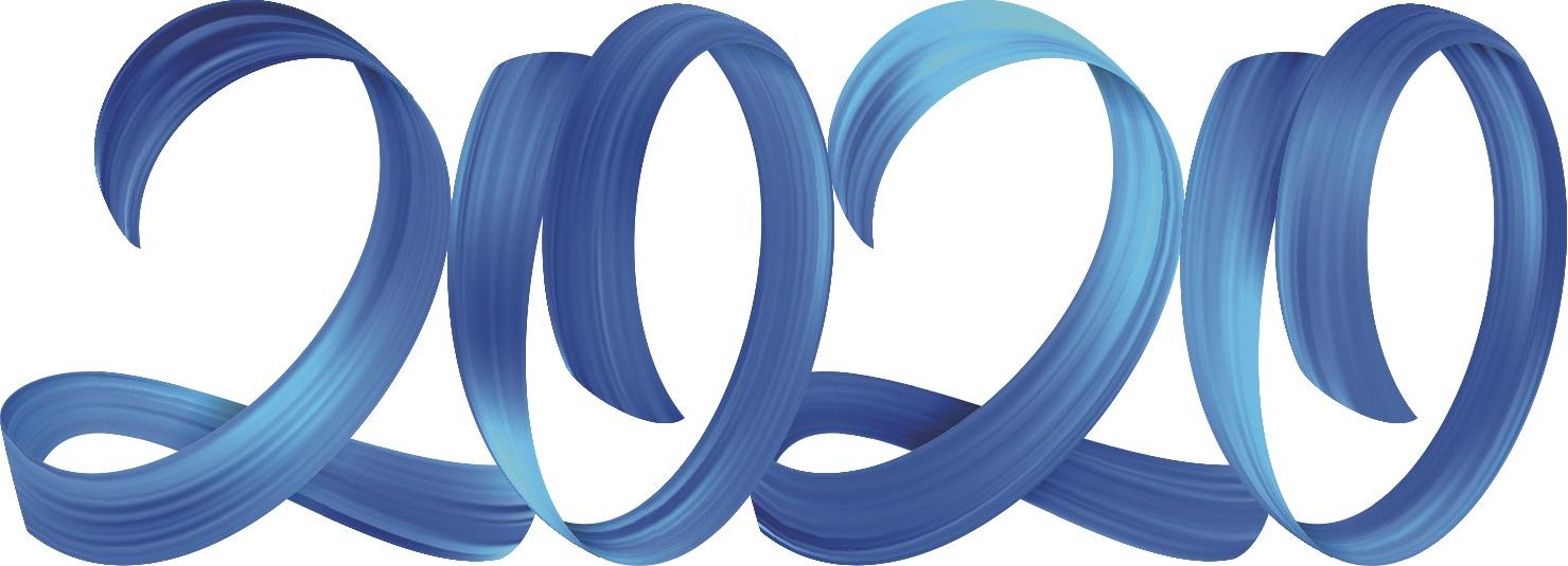 2020 written in blue font